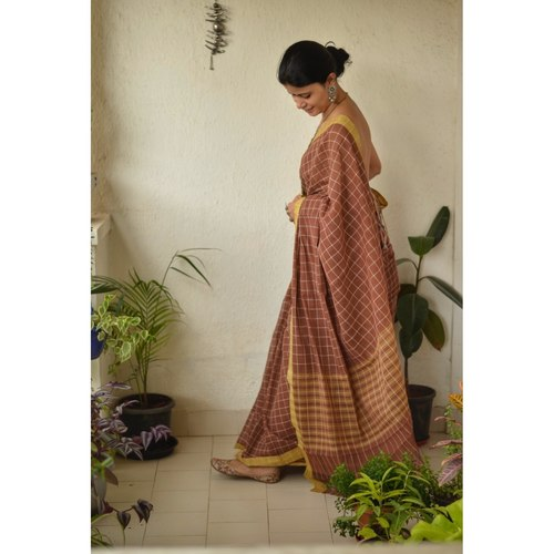 Handwoven Natural Dyed Cotton saree