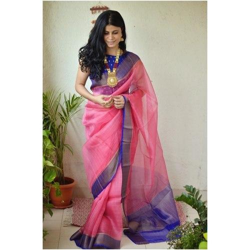 Handwoven organza  2x2 sheer silk saree with jari border.