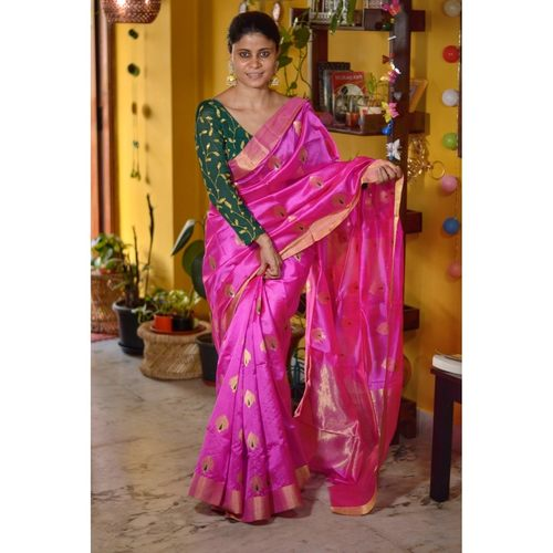 Handwoven Chanderi pattu  silk saree with jari and silk thread meenakari motif