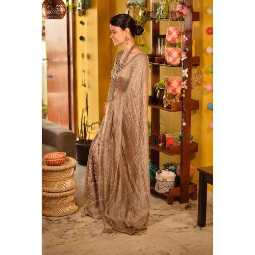 Handwoven Blended Jari Linen Saree