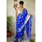 Handwoven organza sheer silk saree with motifs