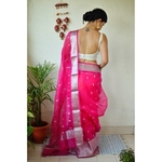 Handwoven organza sheer silk saree with motifs