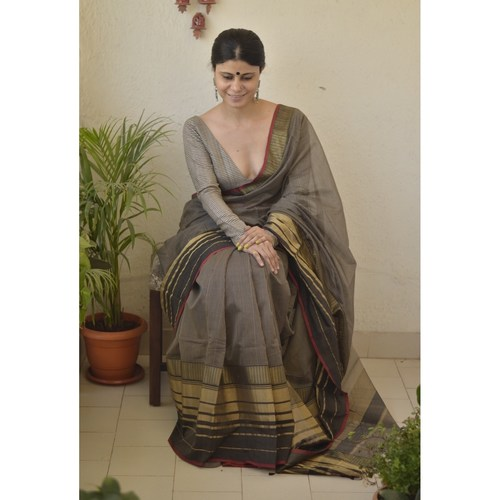Handwoven Meheswari silk cotton saree