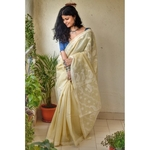 Hand embroidered, handmade  and handwoven cotton chikankari saree