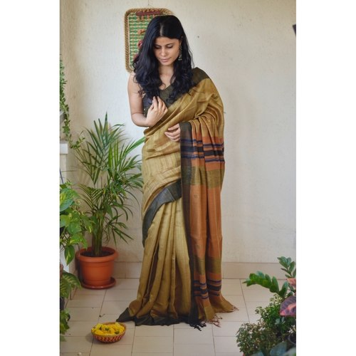 Handwoven tussar silk saree with woven  kantha texture in pallu