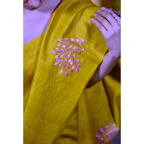 Handwoven  and hand embroidered tussar silk saree