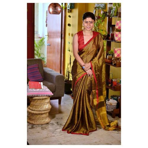 Handwoven metallic linen saree in double shade..