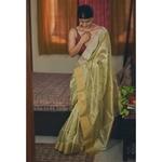 Handwoven chanderi silk saree with gold  and silver jari woven border and jari bootis motifs