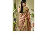 Handwoven  and handblock printed tussar silk saree.