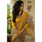 Handblock Printed Kota Silk Saree with handwoven organza natural dyed patch work border.
