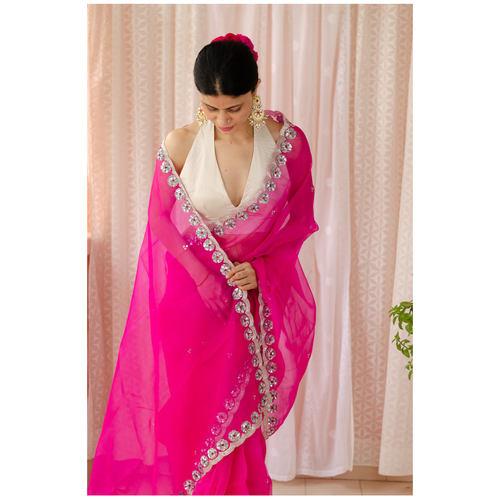 Handloom handembroidered organza resham silk saree.