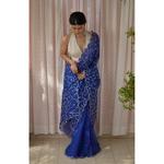 Handloom handembroidered organza resham silk saree enhanced with  zari thread  scallops.