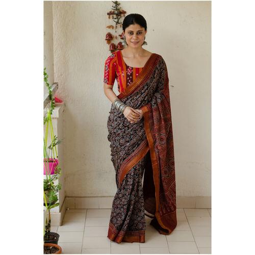 Handloom ,Handblock printed and handmade natural dyed mangalagiri cotton Ajrakh  saree