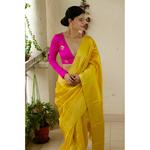 Handloom soft pattu silk with wide pattu silk border and jari stripes in the pallu. Description - Handloom pattu silk saree