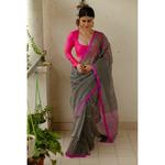 Handloom chanderi silk saree with jari striped.