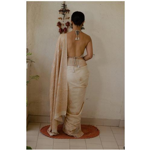 Handembroidered chikankari tussar silk saree.