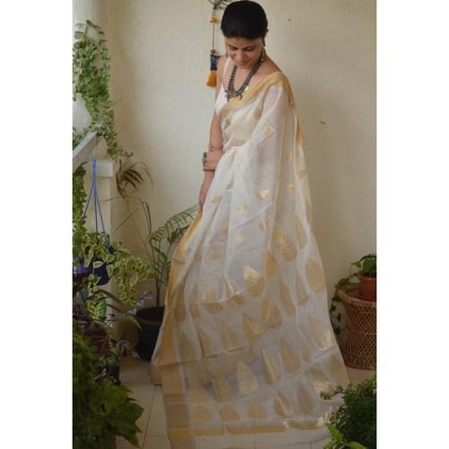 Handwoven Chanderi cotton silk saree