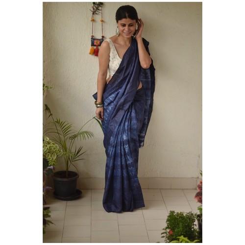 Handwoven and handmade Tussar silk  saree in  shibori
