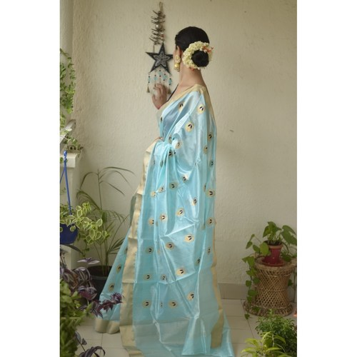 Handwoven Chanderi patty silk saree with  silk thread motif and silk border