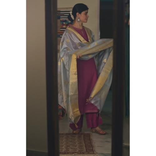 Handllom Chanderi silk dupatta with meenakari bootis in silver /gold  jari
