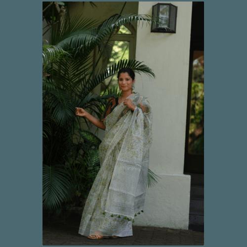 Organic colour dyed and organic processed handblock print organza  silk saree