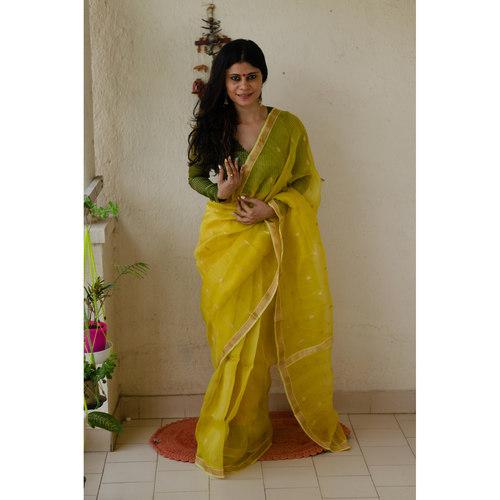Handloom  soft resham by resham chanderi silk  saree with handwoven jari motifs