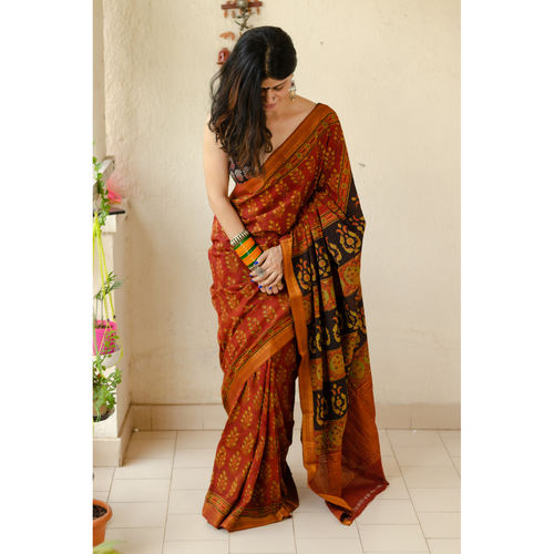 Handloom ,Handblock printed and handmade natural dyed mangalagiri cotton Ajrakh  saree.