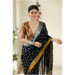 Handloom linen by linen  saree in natural dyed handmade bandhini work in whole the saree with arasho shibori in anchal.
