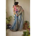 Handwoven metallic sheer linen saree.