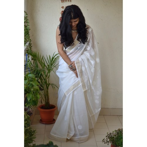 Hand embroidered and hand made kota doria chikankari saree