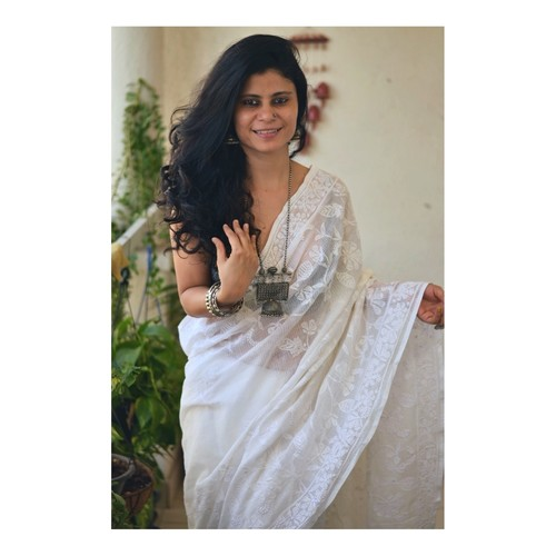 Hand embroidered and handmade  kota doria cotton chikankari saree