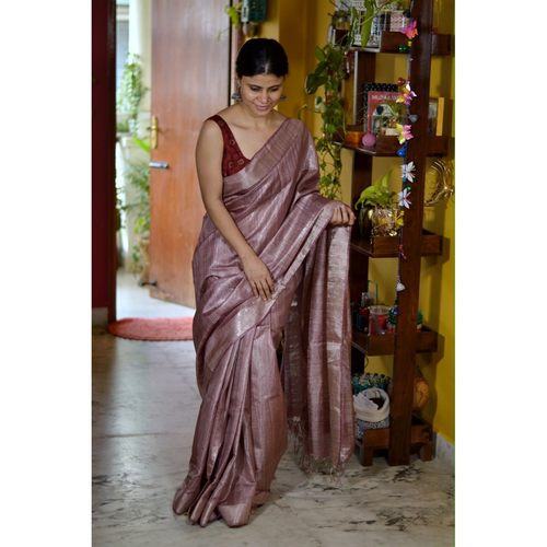 Handwoven jari blended tussar silk saree.
