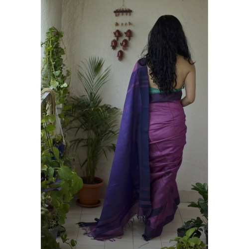 Handwoven tussar silk saree.