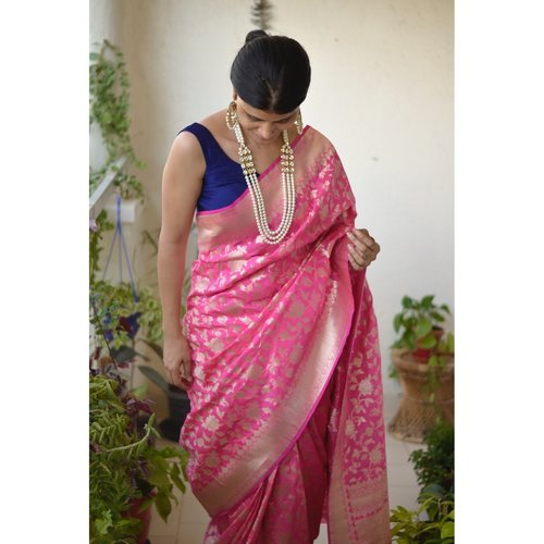 Handwoven Katan Silk Banarasi saree with handwoven motif and jari on pallu