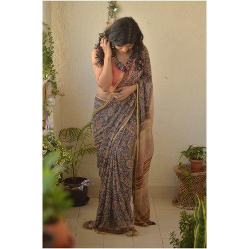 Hand block print natural dye handwoven chiffon saree.