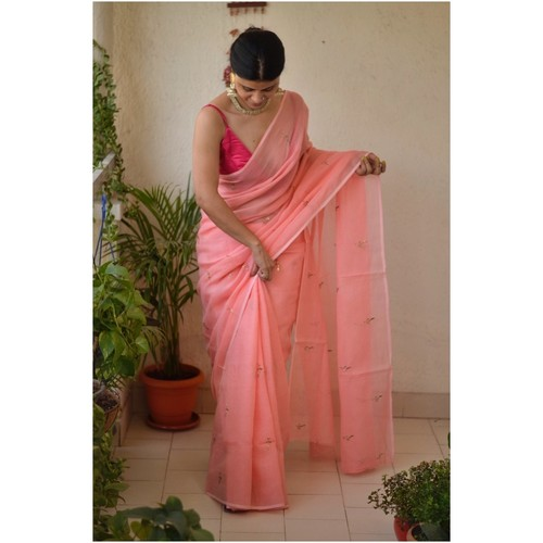 Hand embroidered and handmade  kota doria mukesh saree