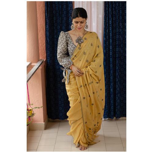 Handspun handwoven pure  muslin cotton Jamdani  motifs saree