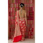 Handloom cutwork  georgette khadi  silk  banarasi saree with silver gold jari motifs.