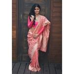 Handloom Kadhiyal  jaal jari motifs monga silk banarasi saree.