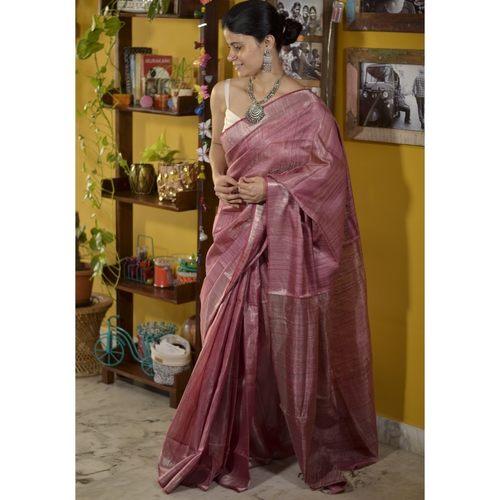 Handwoven jari blended tussar silk saree.