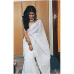 Handembroidered chikankari Kota Doria Saree in white.
