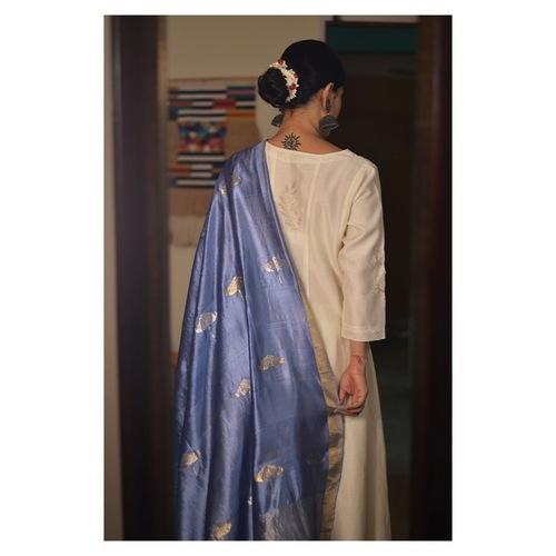 Handllom Chanderi silk dupatta kaduna jari motifs in resham and jari