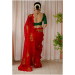 Handloom handembroidered organza resham silk saree enhanced with  beads/kaddana /resham thread scallops.