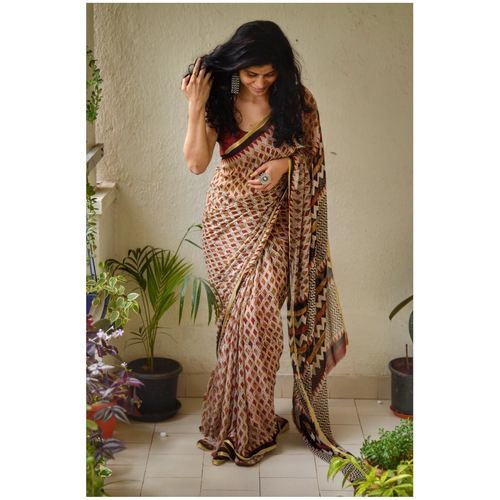 Handblock print chiffon saree