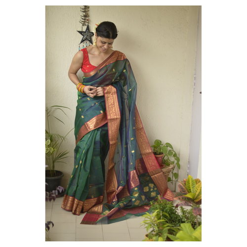 Handwoven Chanderi  tissue silk saree with booties motif and jari border