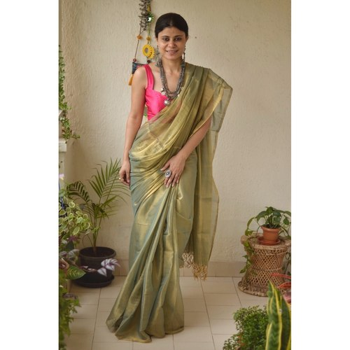 Handwoven metallic  linen saree in sheer texture
