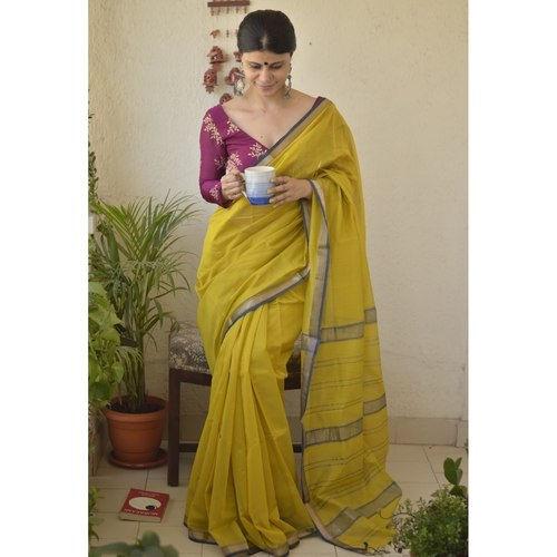 Handwoven Maheswari cotton silk saree with jari border