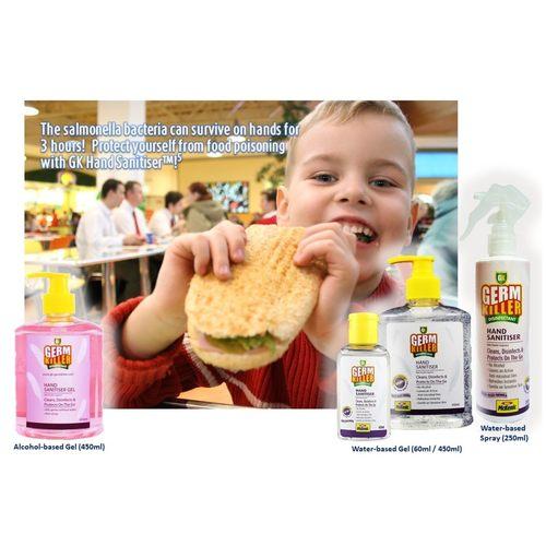 GK-Germkiller Alcohol-Based Hand Sanitizer 500ml Pump Bottle Baby Powder Fragrance x 2. Twin Pack Contains moisturiser to prevent dryness