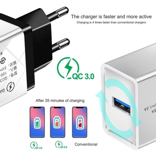 RGMS Quick Charge 3.0 USB Charger QC 3.0 QC Fast Charging EU Travel Wall Charger 3 A Mobile Charger  (White)
