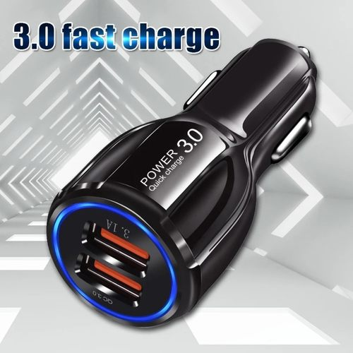 RGMS 3.1 Amp Qualcomm 3.0 Turbo Car Charger  (Black)